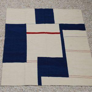 Kilim Grafisch, blauw - wit - rood