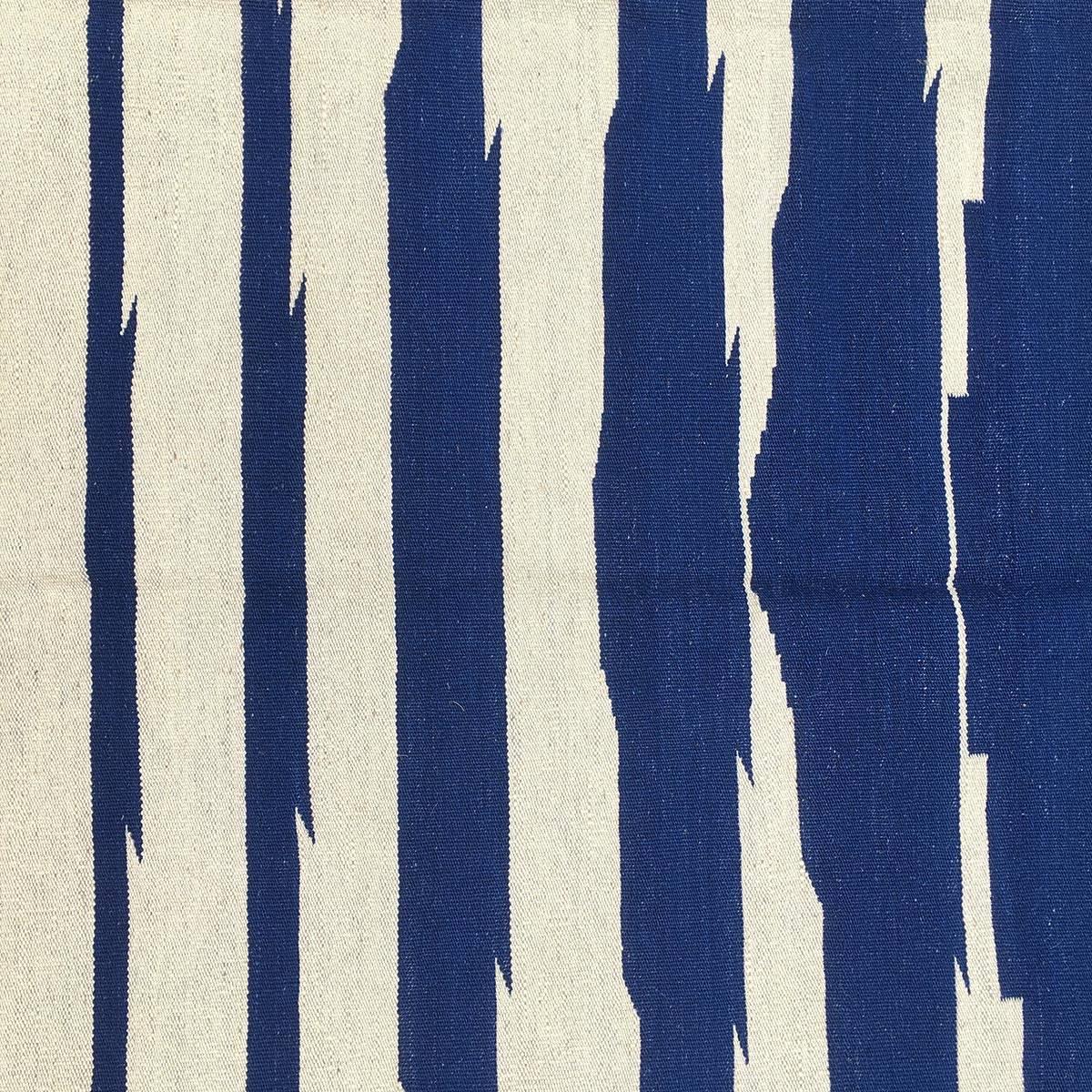 Kilim bicolor blauw - wit