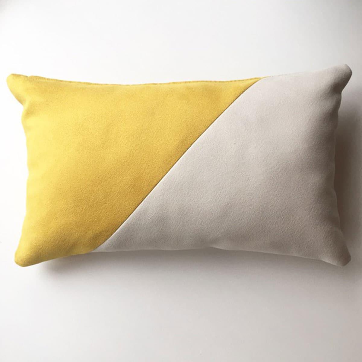 kussen schuin wit - geel